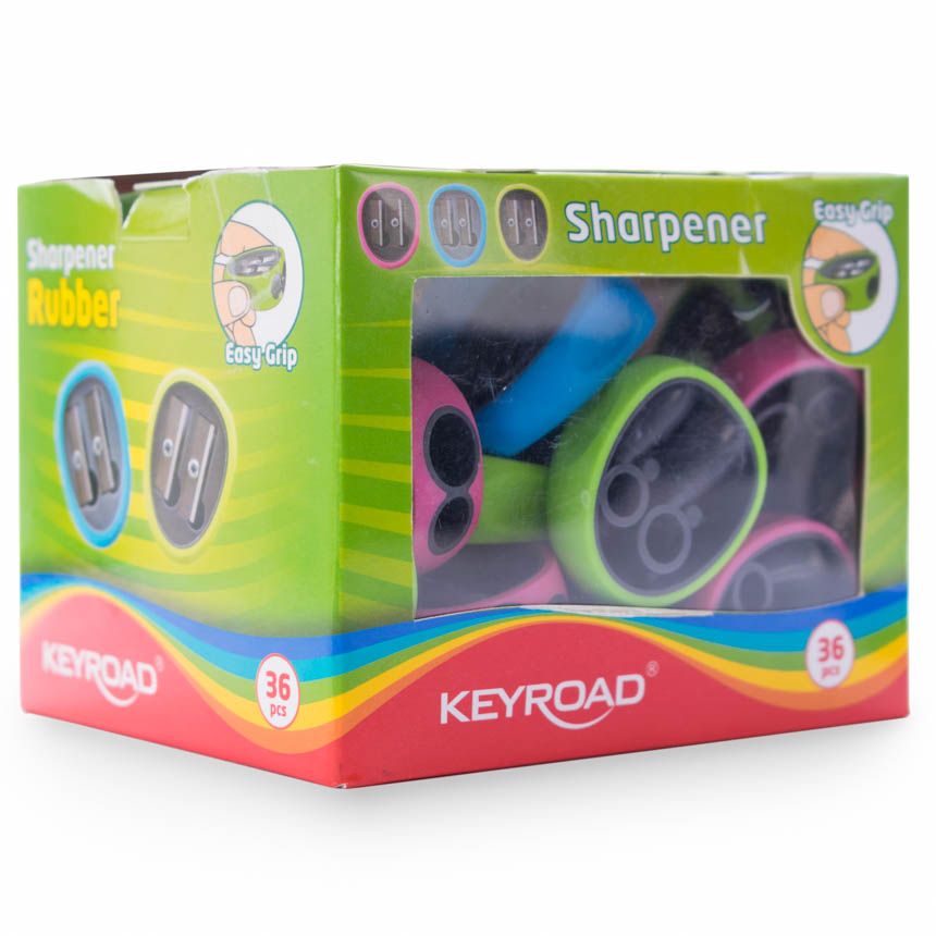 Borrador y tajador DOBLE  RUBBER KEYROAD 36PCS