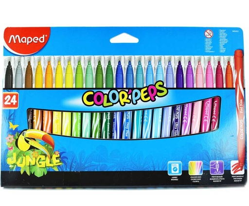 Marcador Maped Jungle P/Bloqueada - 24 colores