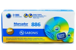 Marcador indeleble para CD doble punta Sabonis 12pcs