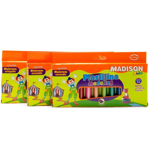 Plastilina Madison triangular Modeling 12 colores