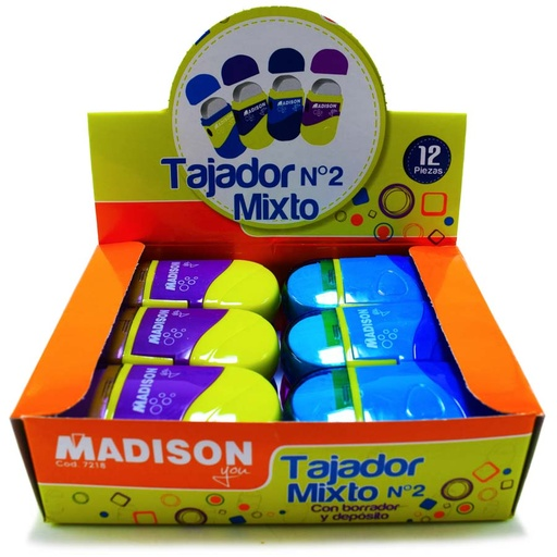 Tajador Giratorio c.Borrador y deposito Madison 12pcs