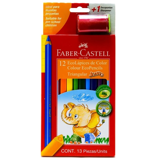 Color Largo JUMBO Faber Castell 12 Colores + 1 Tajador